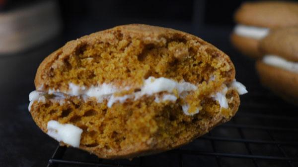 butternut squash pumpkin whoopie pie bitten