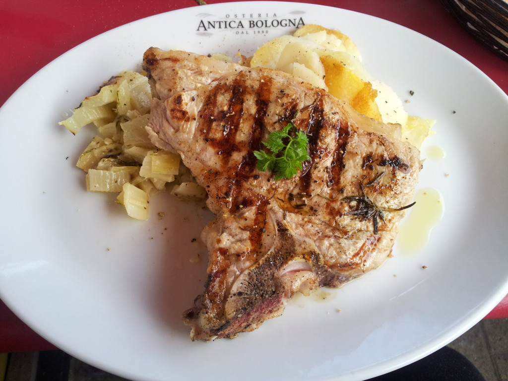 Veal chop with gratin and swiss chard